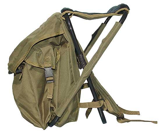Складной стул-рюкзак, со спинкой в сложенном состоянии представляет из себя рюкзак на трубчатой стальной.